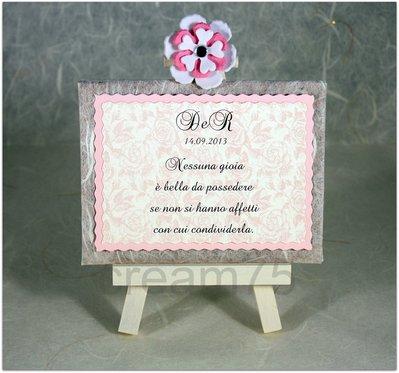 Mini cavalletto ROSA segnatavolo sposi matrimonio segna tavolo