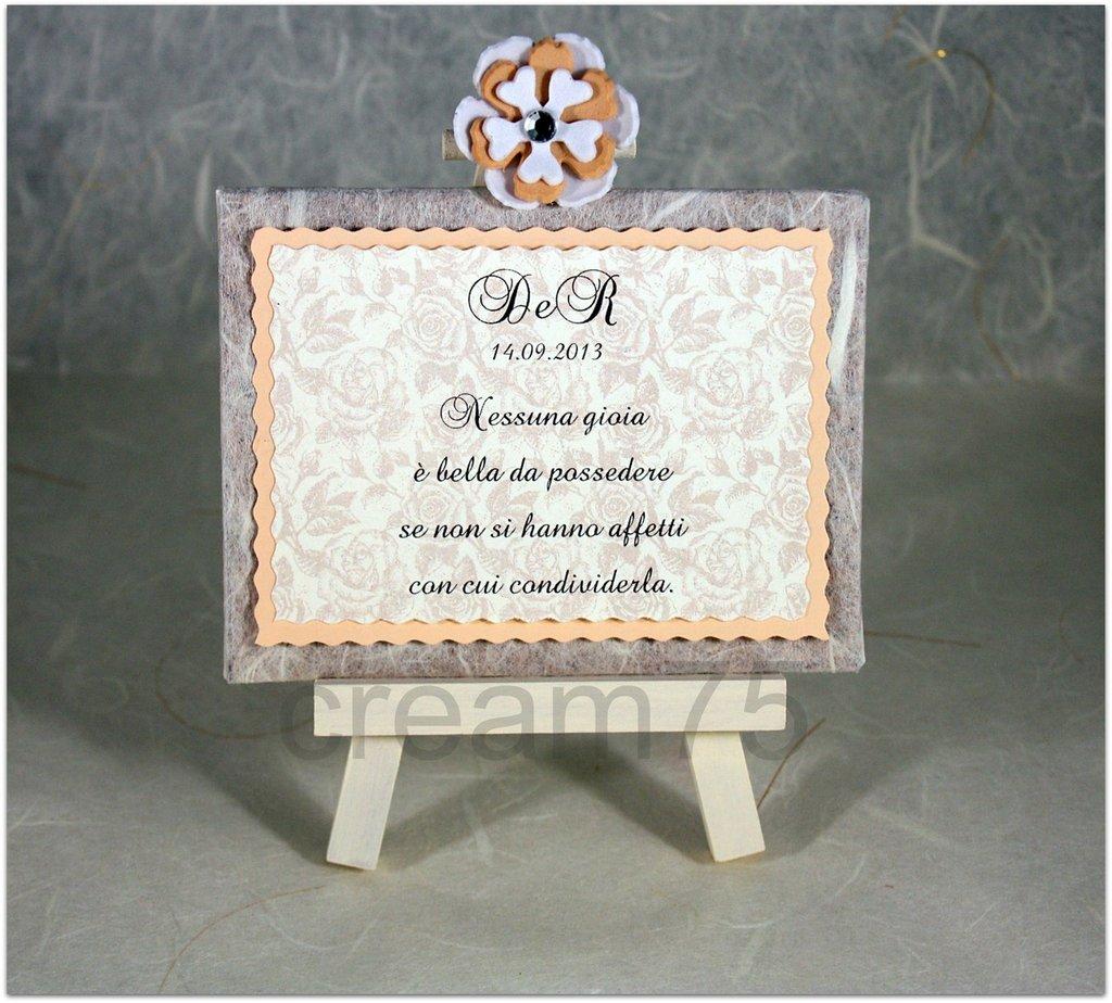 Mini cavalletto SABBIA ROSATA segnatavolo sposi matrimonio segna tavolo