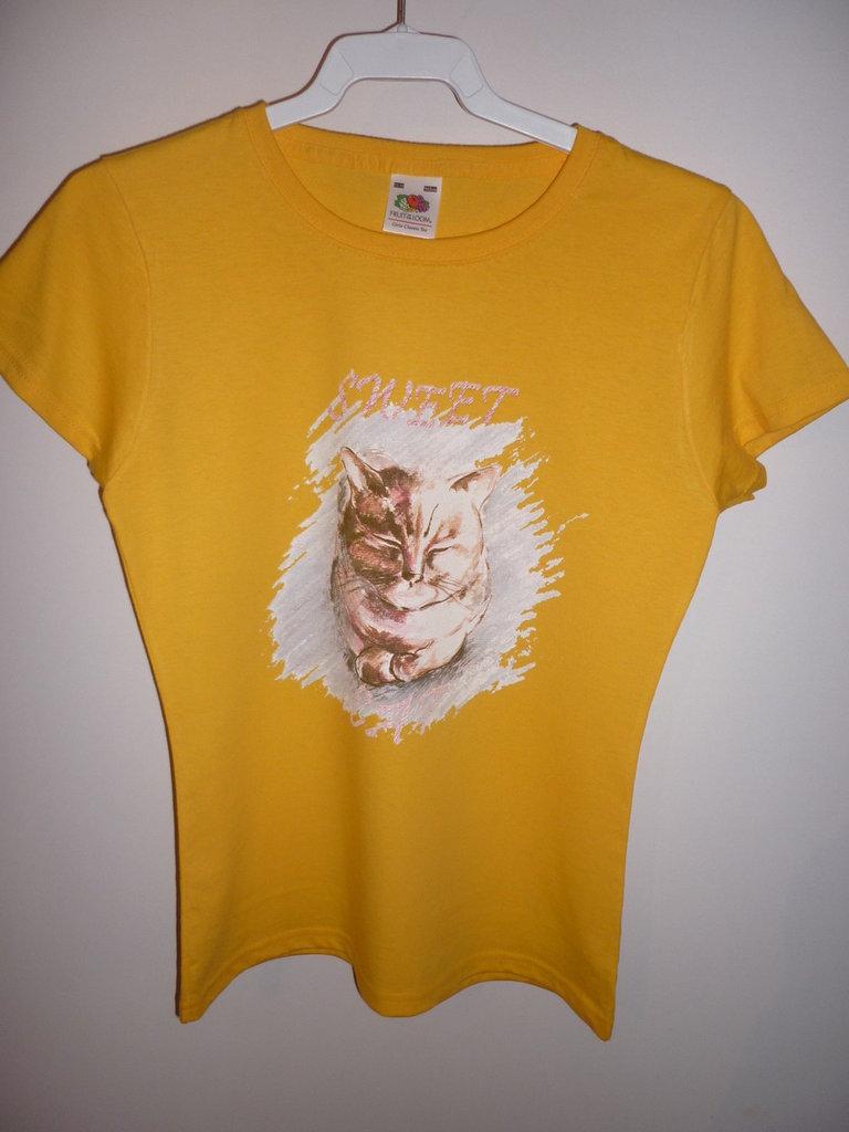 T-shirt artistica gatto. Tg. 7/8 anni bimba.