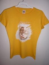 T-shirt artistica gatto. Tg. 9/11 anni bimba.