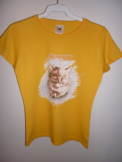 T-shirt artistica gatto. Tg. 3/4 anni bimba.