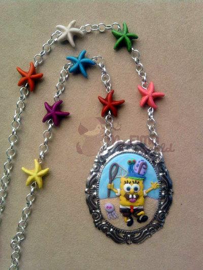 Collana con cammeo con Spongebob fimo