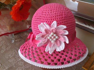 cappellino estivo di cotone rosa per bimba  3-7 anni