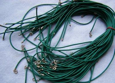 1 cordino in caucciù  colore verde e chiusura in argento 925
