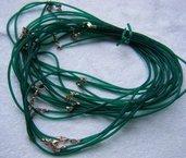 1 cordino in caucciù colore verde trasparente  e chiusura in argento 925, 40 cm