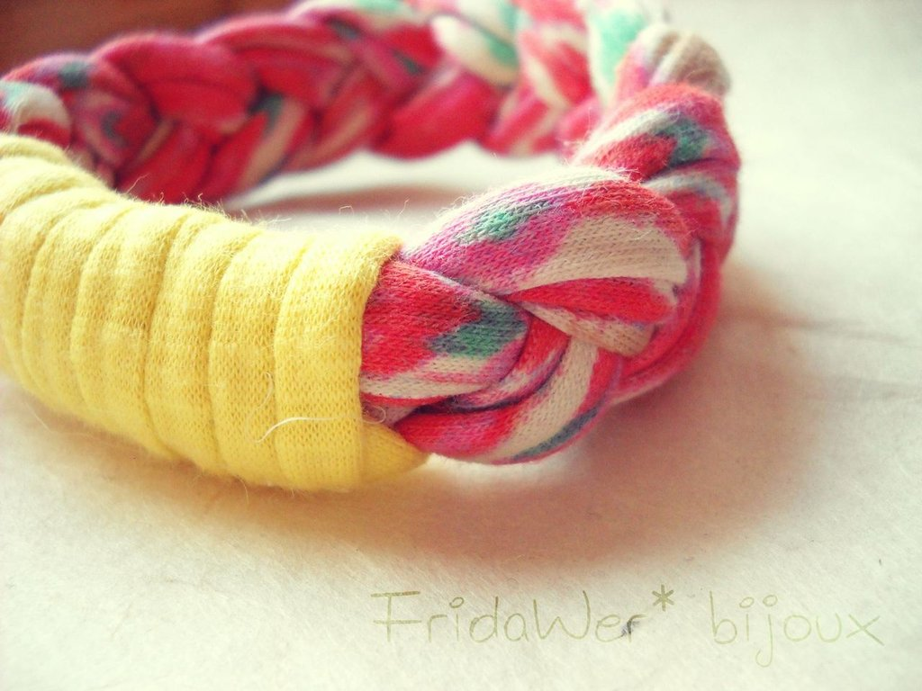 Bracciale Milleintrecci POP - Arancione Fantasia e Giallo by FridaWer