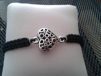Bracciale shambalah con cuore argento tibetano