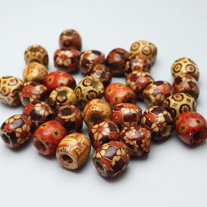 30 perle in legno stampato