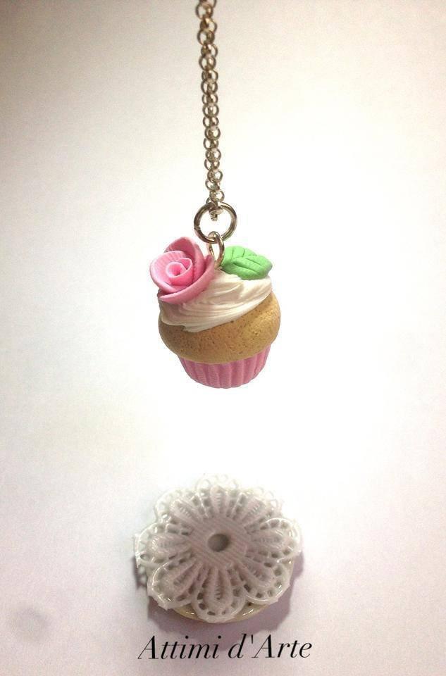 "collana cupcakes ""romantic"" rosa handmade"