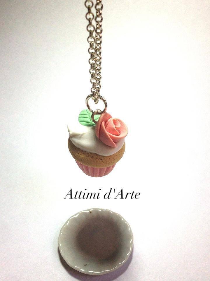 "collana cupcakes ""romantic""  toni pastello arancio handmade"