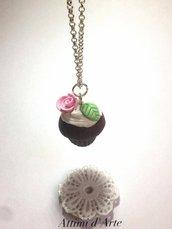 "collana cupcakes ""romantic""  cioccolato handmade"