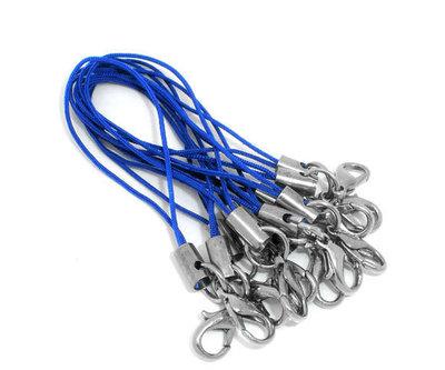 100 pz Cordino per cellulare phone strap - CON MOSCHETTONE - blu - Spedizione Posta PRIORITARIA