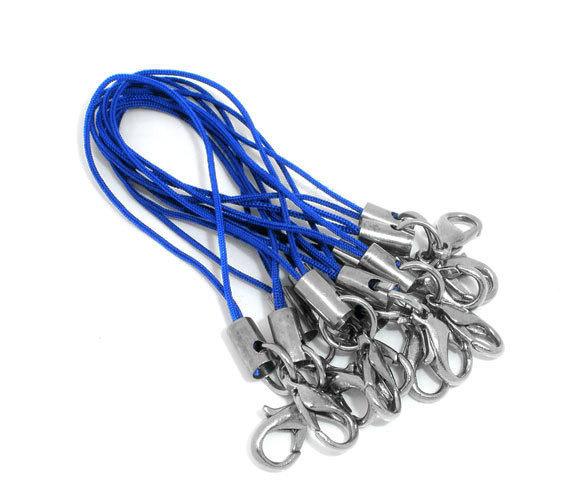 100 pz Cordino per cellulare phone strap - CON MOSCHETTONE - blu - Spedizione CORRIERE/posta RACCOMANDATA