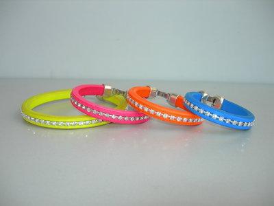 bracciali strass CUOIO vari colori