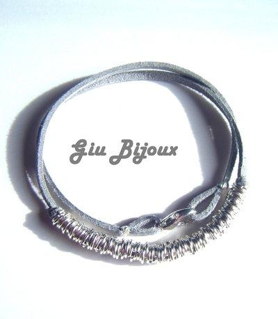 Bracciale anellini grigio