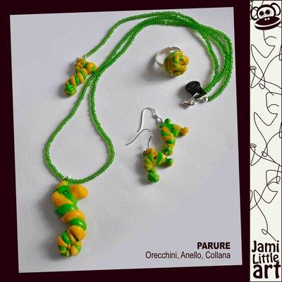 Art_0058C2_Parure Animali _Anello, Collana Perline e Orecchini