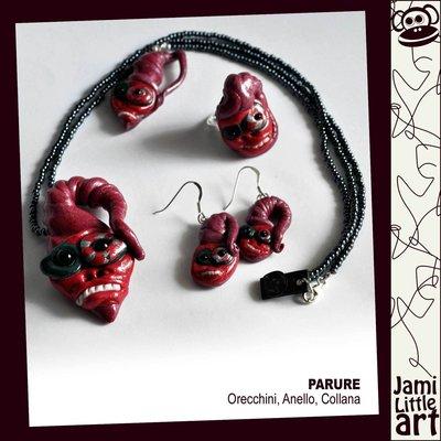 Art_0059M1_Parure Maschera_Anello, Collana Perline e Orecchini