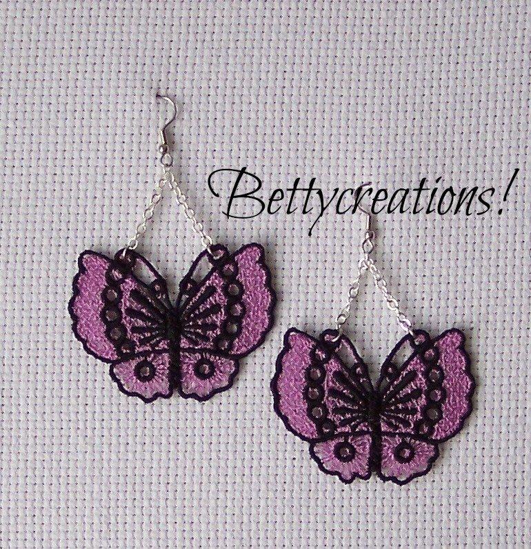Orecchini Pizzo Farfalle Lilla