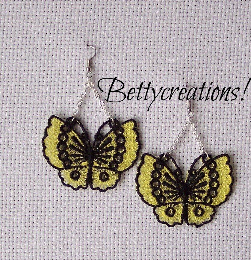Orecchini Pizzo Farfalle Gialle
