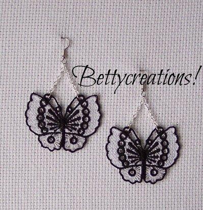 Orecchini Pizzo Farfalle Bianche