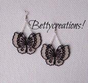 Orecchini Pizzo Farfalle Argento