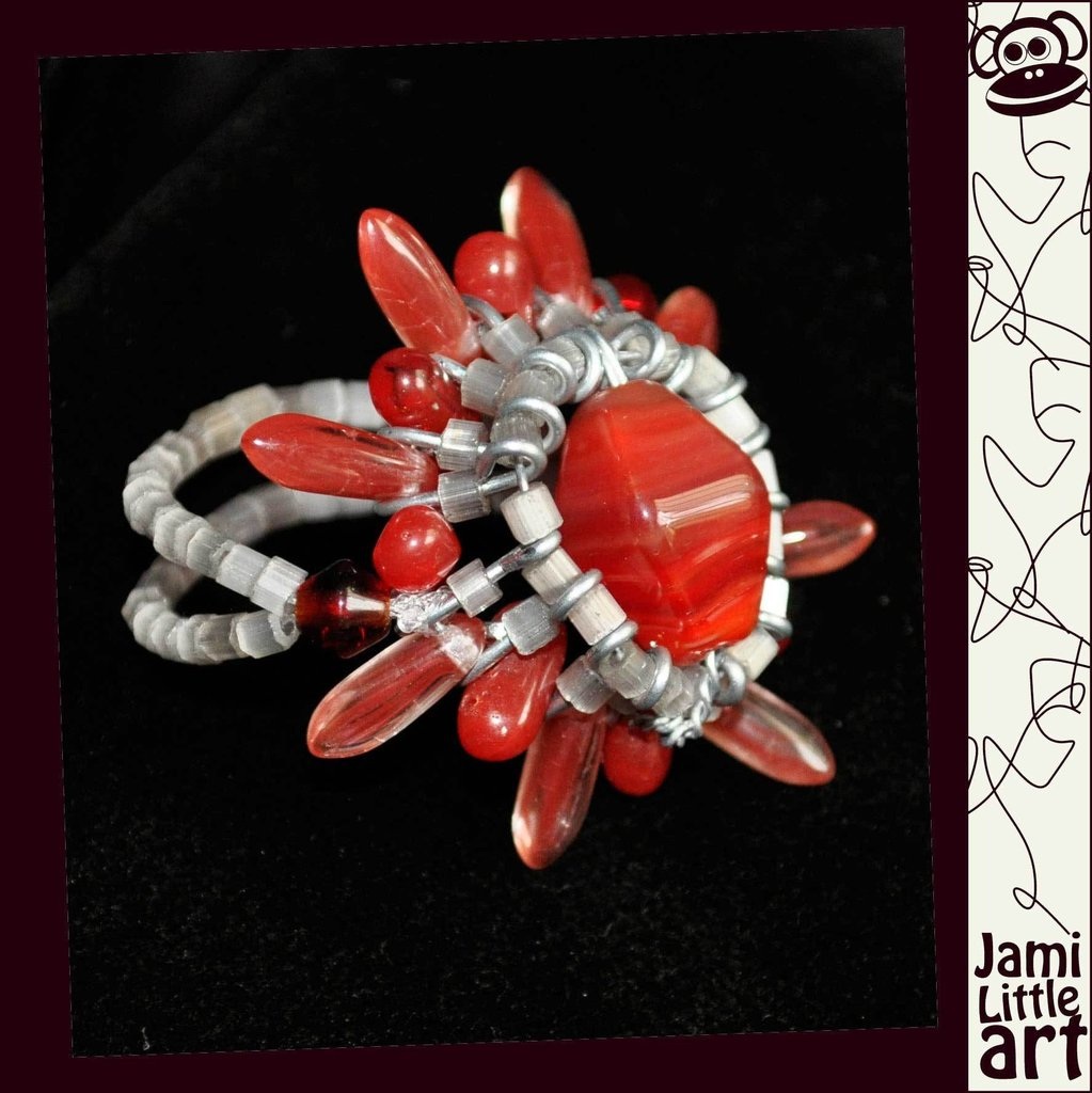 Art_0069_ Anello Perle di Vetro e Swarovski
