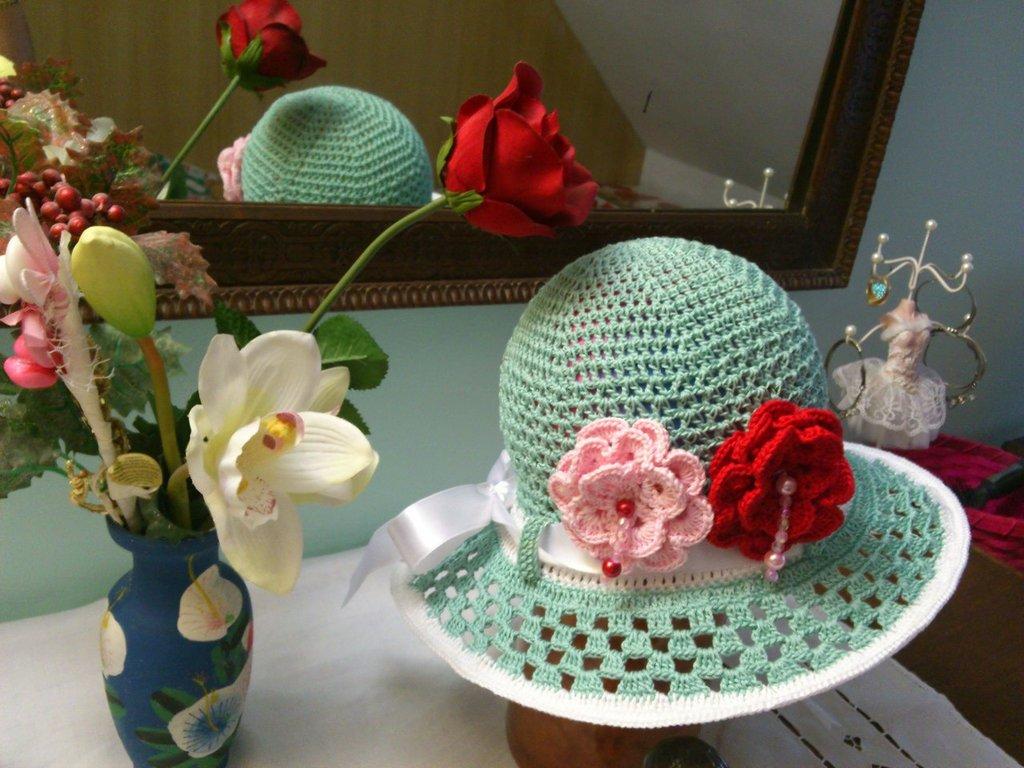 cappellino estivo di cotone acqua-verde per piccola principessa di  3-7 anni