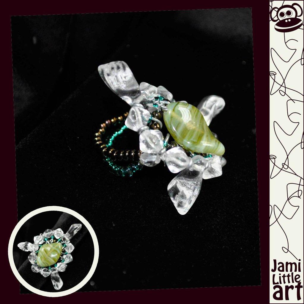 Art_0070_ Anello Perle di Vetro e Swarovski