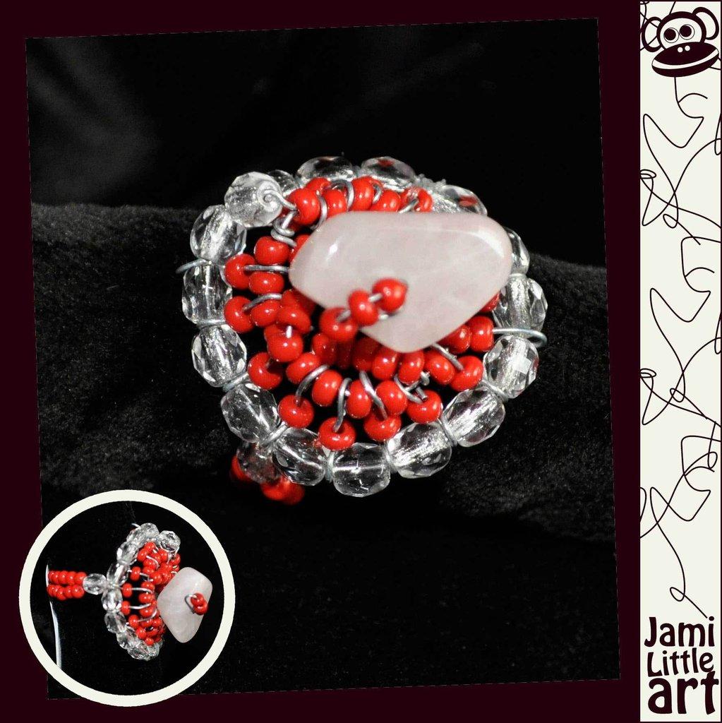 Art_0071_ Anello Perle di Vetro e Swarovski