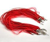 collana con filo organza e fili in cotone cerato colore rosso misura 43 cm