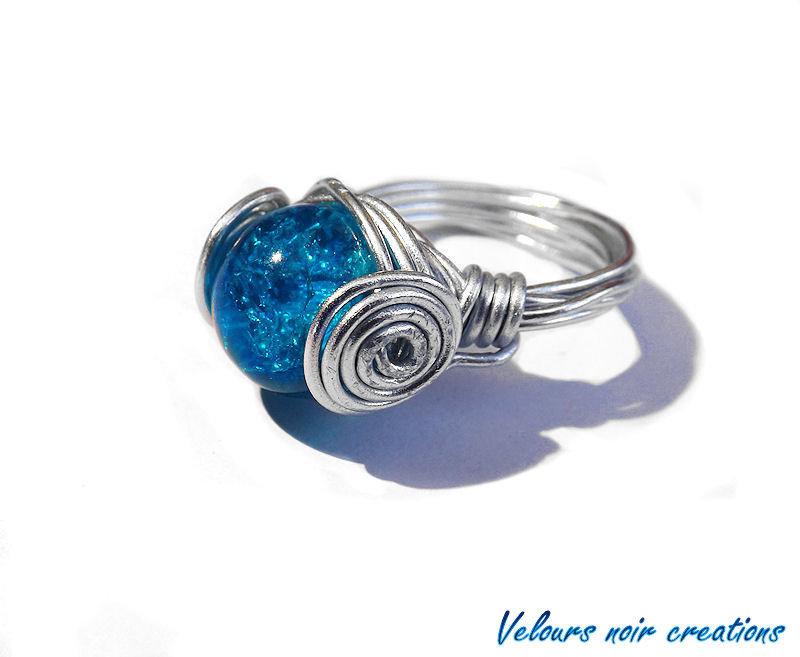 anello tecnica wire perla crackle vetro azzurro