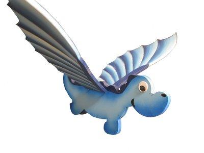 Draghetto blu da appendere, muove le ali con un semplice gesto