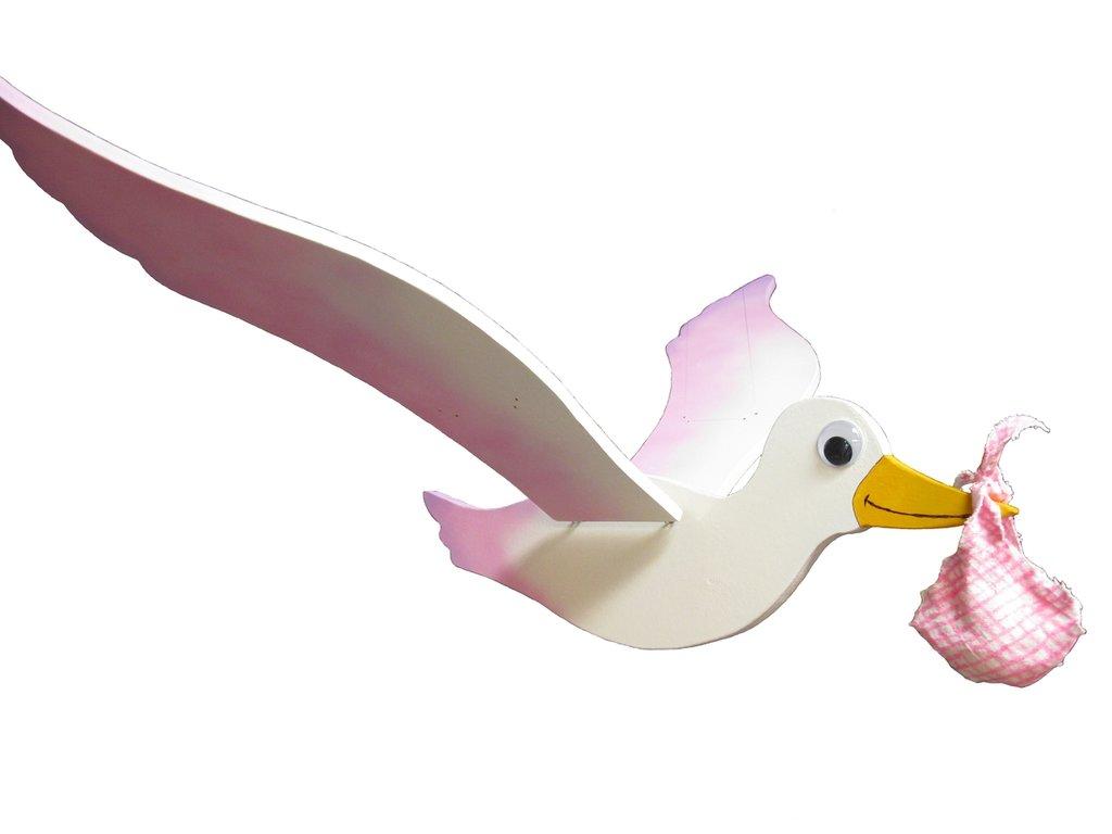 Cicogna rosa da appendere, con un semplice gesto muove le ali
