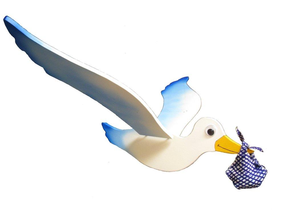 Cicogna blu da appendere, con un semplice gesto muove le ali