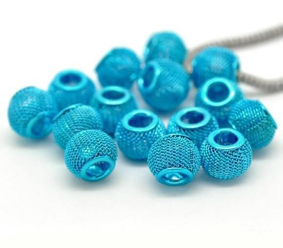 Perlea Rete Azzurro a Foro Largo 12x10mm metallo foro 5 mm scontato