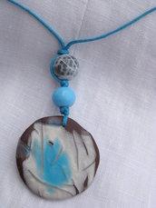 collana con ciondolo in fimo ed elemeti decorativi in fimo e pietra dura, handmade