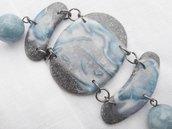 braccialetto con ciondoli in fimo ed elementi decorativi in fimo e pietra dura,  fatto a mano