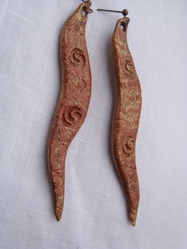 orecchini pendenti stile etnico in fimo fatti a mano