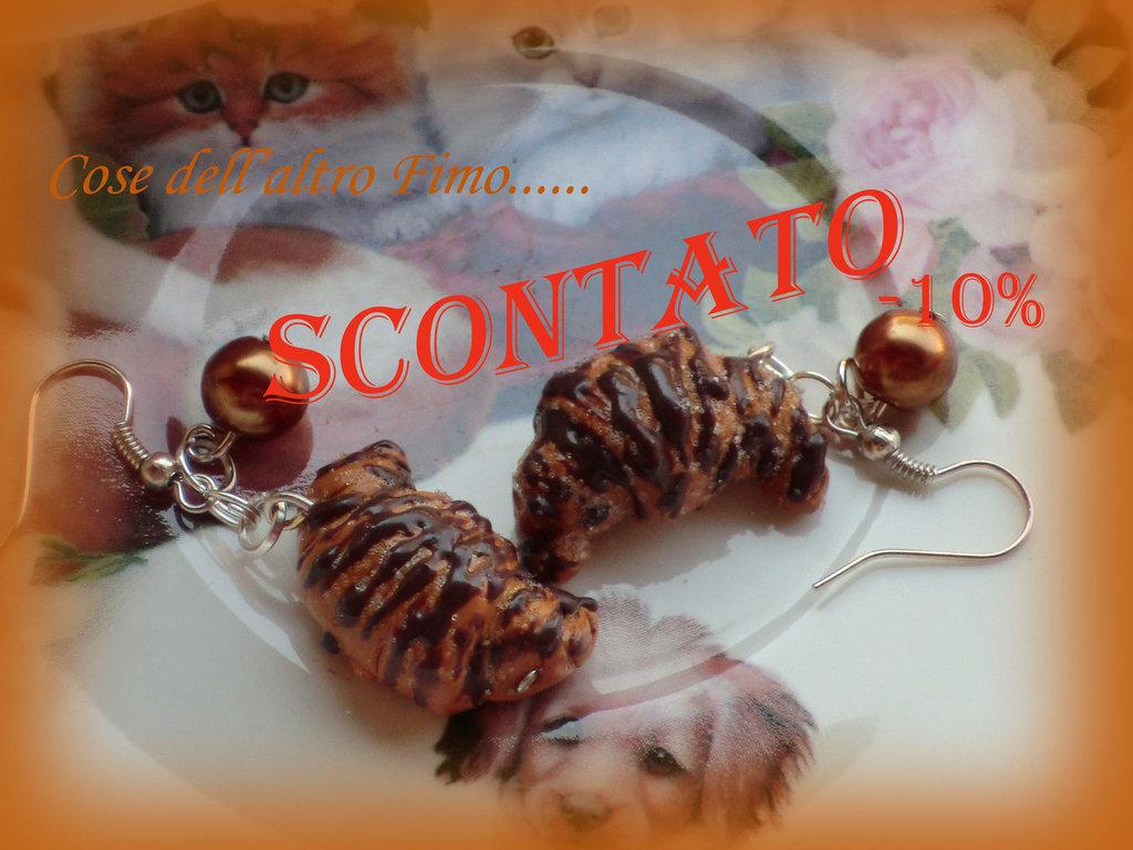 Orecchini Croissant Glassa al Cioccolato