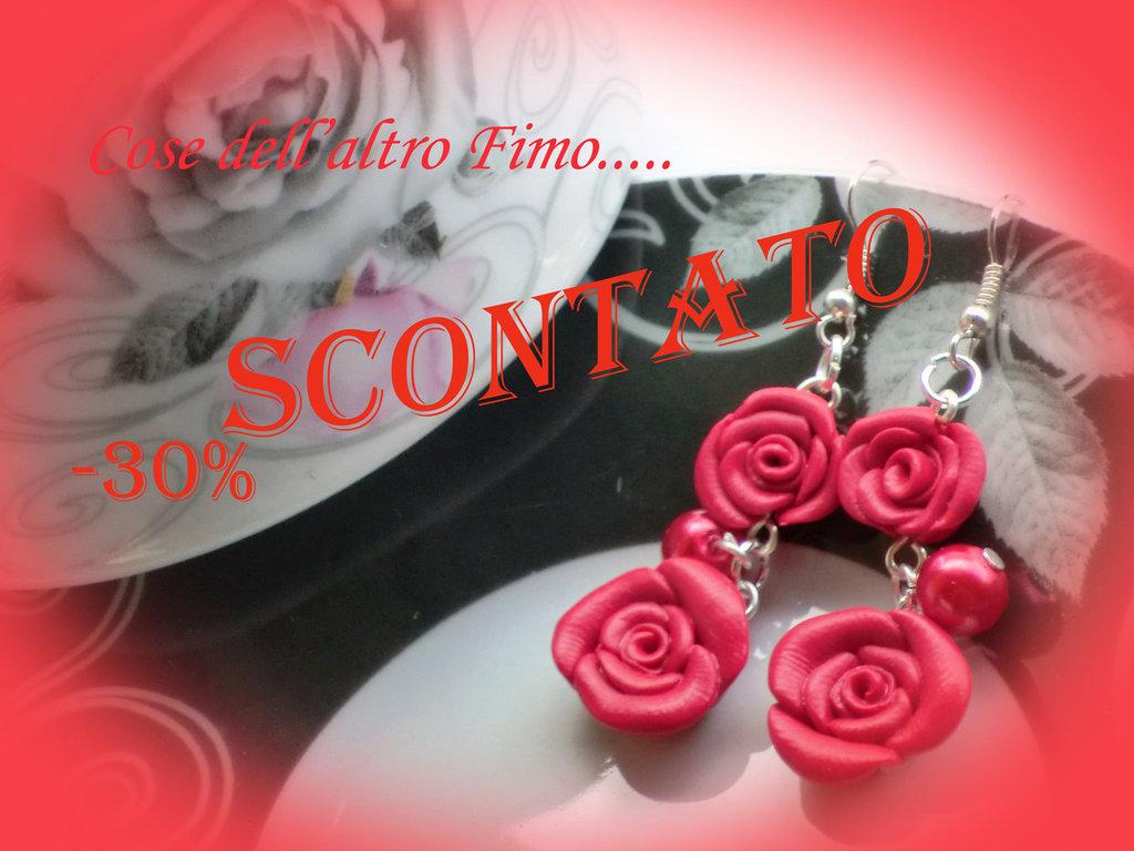 """Orecchini Rose di Primavera color """"Ciliegia"""""""