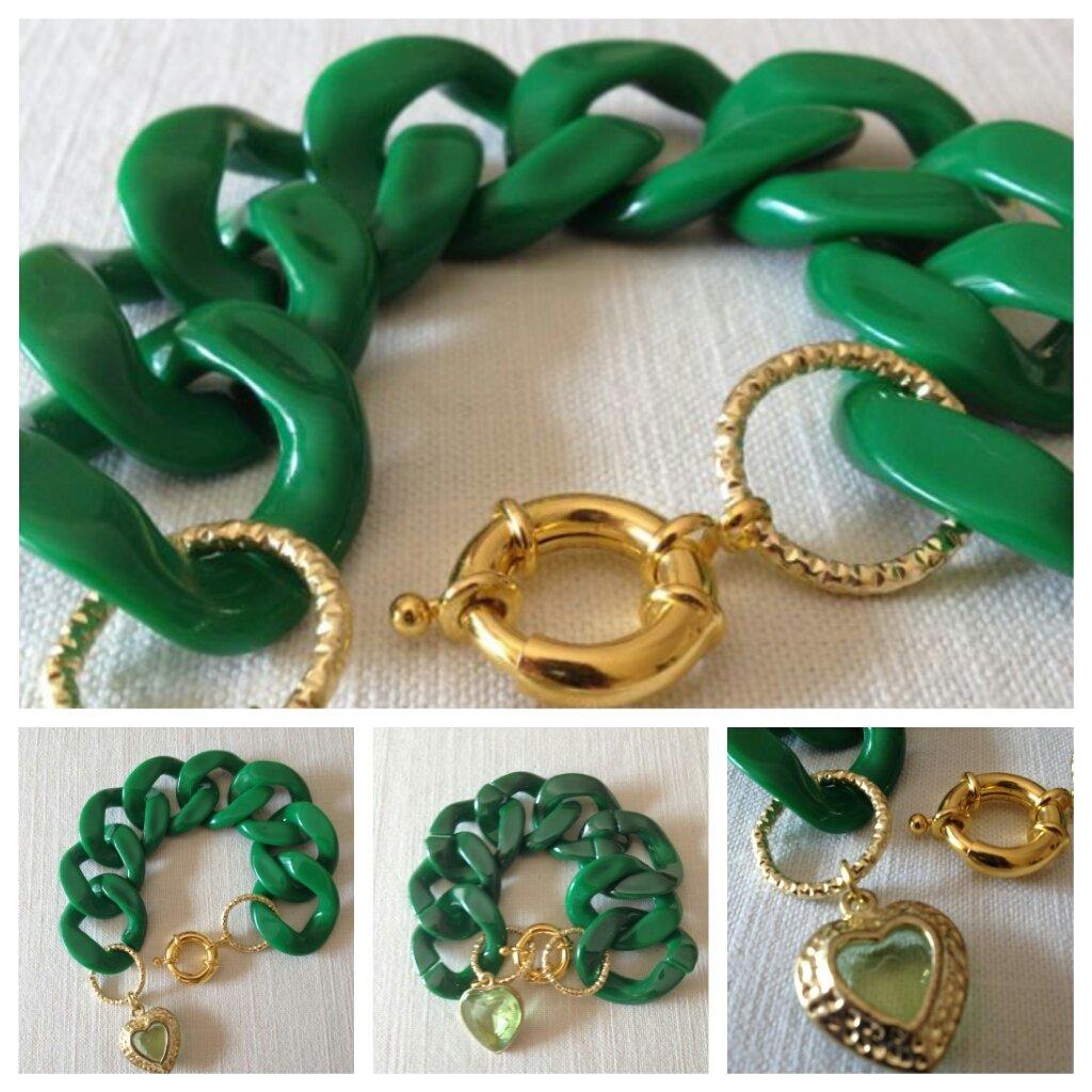 bracciale con catena resina e pendente