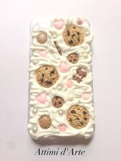 cover iphone 4/4s fantasia pannosa con omino biscottino e cookies total handmade