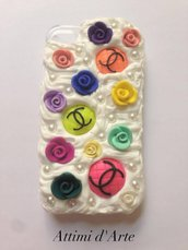 "cover iphone 4/4s fantasia pannosa ""chanel multicolor & roses "" total handmade"