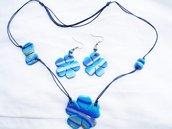 parure fiore nei toni dell azzurro in fimo handmade