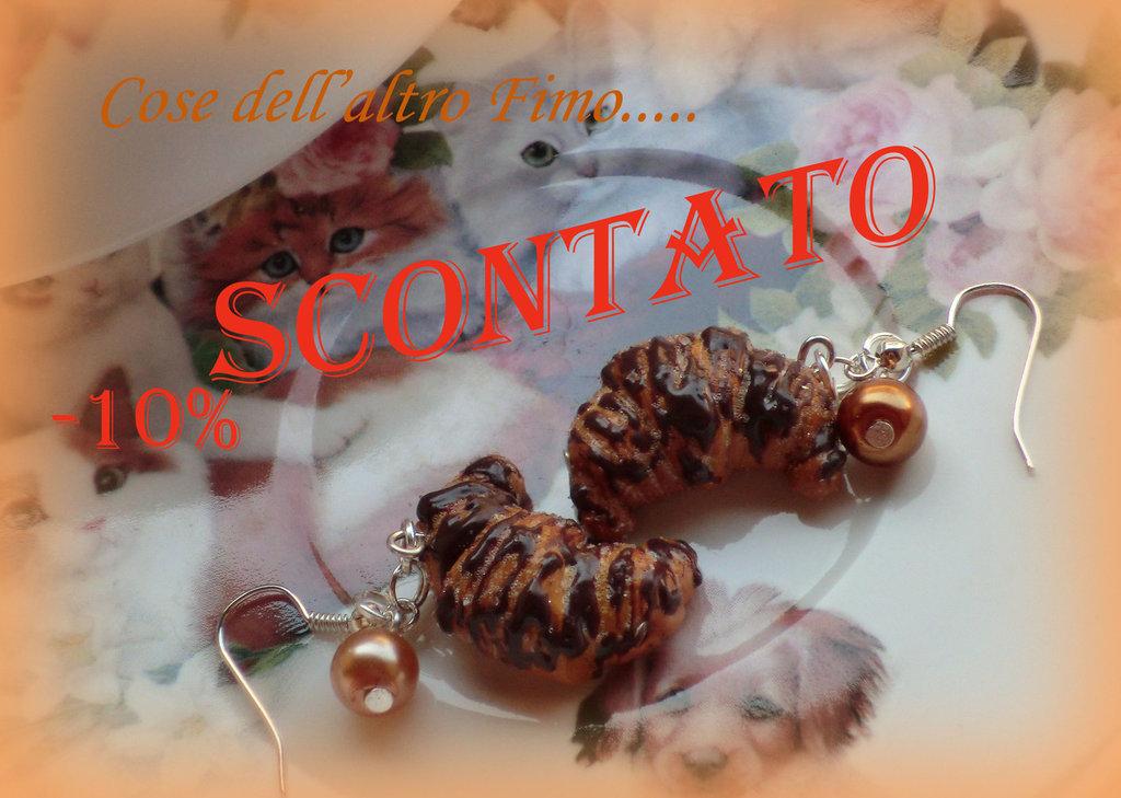 Orecchini Croissant Glassa al Cioccolato e perline colorate