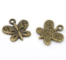 5 charms farfalle in bronzo 13 mm con scritta created for you  scontato