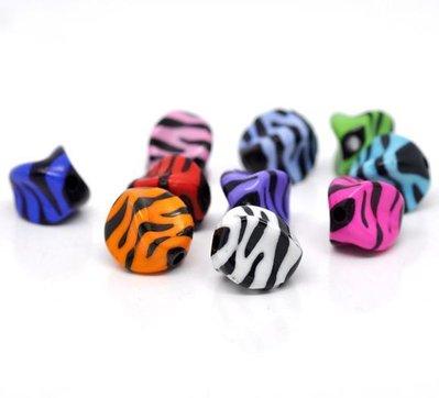 10 perle in acrlico zebrato a forma di sasso sfaccettate colori mix