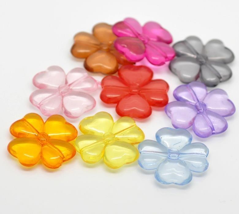 10 perle quadrifoglio in acrilico 26mmx26mm colori mix