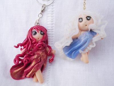 """ciondolo """"le piccole custodi dell' ARIA e del FUOCO"""" miniatura in fimo handmade"""