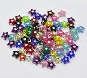 20 perle in acrilico forma stella con strass colori mix misura 9x9 mm